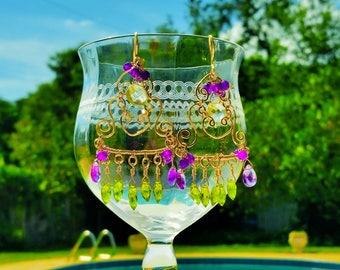 Amethyst Earrings. Amethyst Chandelier Earrings,February Birthstone, Amethyst Earrings Gold, Purple Chandelier Earrings