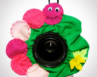 Shutter Buddies Claire CATERPILLAR with SQUEAKER camera lens buddy- Ready to ship
