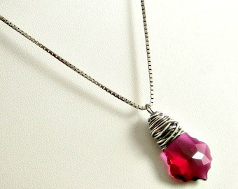 Ruby Crystal Necklace, Wire Jewelry Sterling Silver Wrapped, Crystal Pendant Necklace, Gifts for Her
