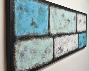 Original painting white blue textured painting painting 20 x 60 modern painting minimalism acrylic painting Rothko abstract art by L.Beiboer