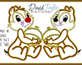 Chip and Dale Acorn Embroidery Design 4x4 5x7 6x10 7x10 in 9 formats-Applique Instant Download-David Taylor Digitizing Chipmunks Donald Duck