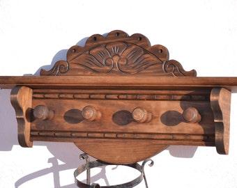 Large hand carved wooden coat rack