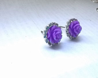 Purple Ear studs purple earings lilac earrings purple earrings purple studs purple rose studs rose purple earrings rhinestone purple womens