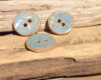 blue opal stoneware buttons Artisan ceramic textured buttons ceramic 30 mm button porcelain  button blue buttons herb buttons