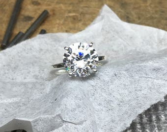 Diamond Ring, Diamond Engagement Ring, 4.00ct. Engagement Ring, Round Engagement Ring, CZ Engagement Ring, CZ Solitaire Ring