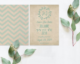 Chevron Save The Date Cards / Robin Egg Blue & Burlap / Shabby Chic Weddings Rustic Weddings / PRINTED CARDS