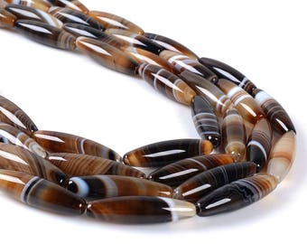0054 30mm Botswana banded agate tube cylinder gemstone loose beads 16""