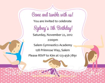 Gymnastics Invitation - (Digital File) / Gymnastics Birthday Invitation / Gymnastics Invite / Invitation for Gymnastics Party