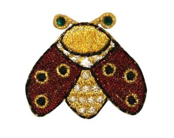 ID 0742 Golden Beetle Patch Scarab Insect Craft Embroidered Iron On Applique
