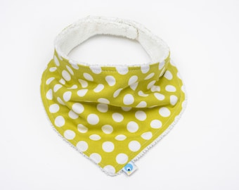 Baby Neckerchief Dribble Bib - Michael Miller Ta Dot - Lime Green Spots