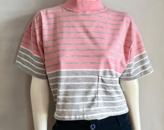 Vintage Women's 80's Nike, Cropped T Shirt, Striped, Short Sleeve (L)
