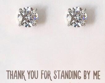 Bridesmaid Earrings Crystal Stud Earring Wedding Party Jewelry Gift Bridesmaid Stud Earring Silver Cubic Zirconia Stud Earring E168S_ 6MM-S4