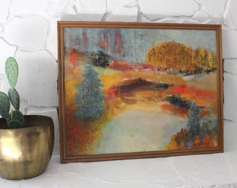 Northern Lights Lake Landscape Abstract Painting on Canvas Signed and Framed