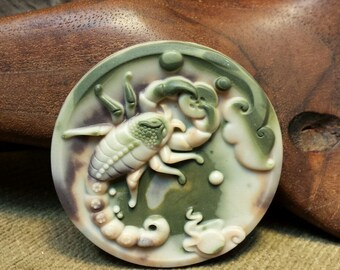 NEW ~ Magnificent Scorpion carved In Large Camouflage Ribbon Jasper Round Disc