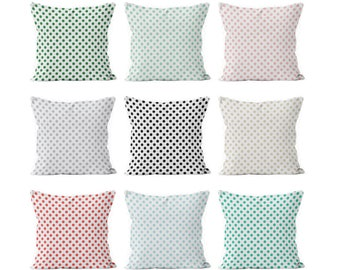 54 colors Polka Dot Pillow Cover, green blush pink black blue gray small polka dots Mix and match basic pillow cover, girl pillow cover