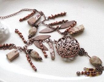 copper lace locket unakite moukaite jasper copper leaves - statement jewelry, tribal, nature, ancestoral -Tribal Locket