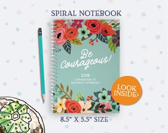 2018 Be Courageous Convention A5 Size Notebook - Turquoise Floral - jw gifts - best life ever - bestlifeever - jw org