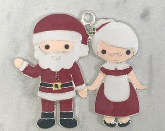 45*40mm, Santa Claus, Enamel Pendant, Christmas Pendant, Santa Pendant, Mrs. Claus, Chunky Necklace Beads, DIY Necklace, Wholesale Pendants
