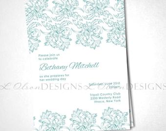 Emerald Flourish Lace Bridal Shower Invitation DIY Printable