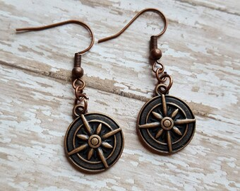 Compass earrings~gifts~ modern jewelry~ minimalist earrings~ wanderer~ travel~ unique~ wanderlust