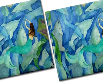 Dolphins and Mermaid Party Ceramic Tile Coasters from my art