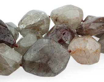 Brown Rutilated Quartz Focal Beads, Large Gemstone Nugget Beads, Natural Rutilated Quartz Gemstones for Malas, 23-30mm - 4 beads (ST-223)