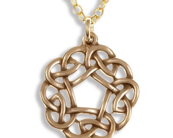 Bronze openwork Celtic pentagon knot pendant on gold-plated trace chain- Hand Made in UK