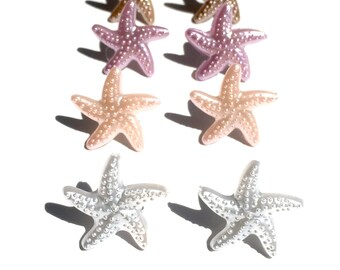 NICKEL FREE Starfish Studded Earrings for Sensitive Ears - White Coral Purple Sand