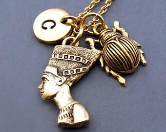 Nefertiti necklace, Great Royal Wife Pharaoh Akhenaten, Scarab beetle, the holy beetle in Ancient Egypt, Egyptian theme, monogram