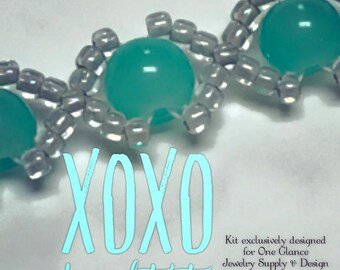 XOXO bracelet kit, teal