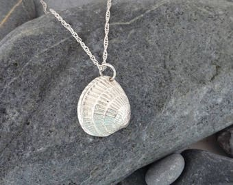 Pure Silver Cross Barred Venus Shell Pendant