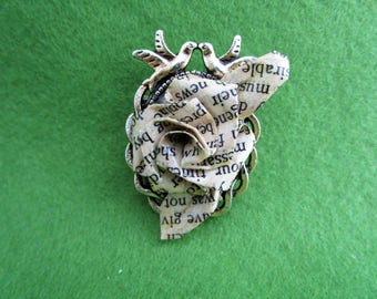 Book lover gifts, book lovers jewellery, book lover, Jane Austin gifts, romantic gifts for her, origami jewellery, recycled paper jewellery,
