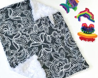 Black and White Floral Lace Baby Girl MINKY Lovey Blanket, MINI Minky Baby Blanket, Taggie Blanket, Baby Bedding, Monochrome Baby Blanket