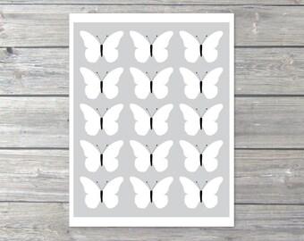 Grey Butterflies Art Print -  Modern Butterflies Art  - Wall Art - Grey Black White - Under 20