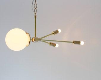 Comet Pendant Lamp, Hanging Brass Pendant Lighting Fixture, Mid Century Modern Sputnik Rocket Lamp, White Glass Globe, BootsNGus Lighting