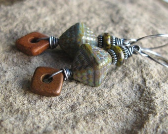 Earthy Green Brown Czech Glass and Ceramic Earrings