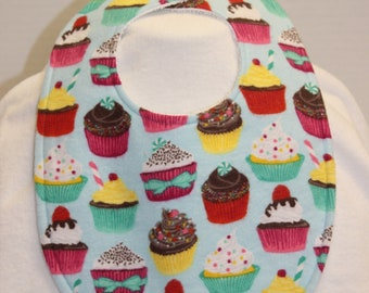 Cupcakes Flannel / Terry Cloth Bib