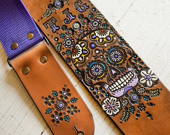 Custom Leather Guitar Strap - Acoustic or Electric - Sugar Skull Floral Design - Mexicali, Day of the Dead, Flower - Hand Tooled and Painted
