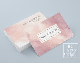 Watercolor business card template pastel printable business card design gold and pink business cards custom busienss card gold pink makeup