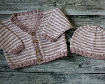 Hand Knit Striped Baby Cardigan & Beanie Set - Soft Lilac, White - luxury Merino Wool/Cashmere blend yarn, choose size