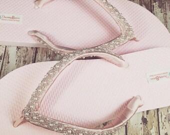 Emma Bridal Flip Flops, Custom Flip Flops Dancing Shoes, Beaded Bridal Sandals, Wedding Flip Flops, Beach Wedding Bridal Shoes, Beaded Shoes