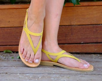 Leather Sandals, Women Shoes, Summer Sandals, Flip Flops, Also Large Size