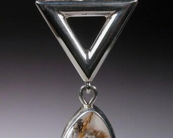 Sterling Silver Pendant with Nipomo Sagenite DELTA DROP