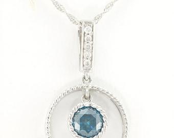 Circular Drop Pendant w/ 0.78CT Blue Diamond Bezel Rope Accent Pendant