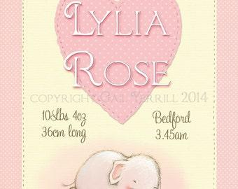 personalised baby name art, nursery art, elephant and bunny sleeping, newborn baby gift