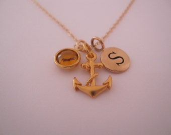 24k gold on sterling Anchor necklace with initial and birthstone