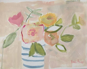 flower painting watercolor and acrylic 9x12 spring flowers muted colors blush pink celery green