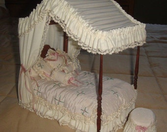 Hand dressed canopy bed and ottoman for dollhouse