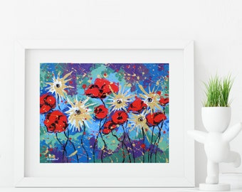 Mothers Day Gift Flower Art Print, Flower Wall Art, Floral Print, Red Poppies Asters Flowers Wall Decor