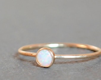 Opal Ring/ 14k Solid Gold/ Gemstone/ Thin Gold Opal Ring/ Tiny Gold Opal Ring/Opal Stacking Ring/Custom Teeny Weenie Simple Stacker AAA Opal